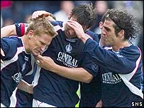 Falkirk celebrate after Daniel McBreen's equaliser