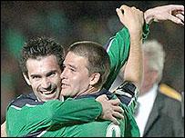 Jugadores del Irlanda del Norte tras el 1-0 a Inglaterra