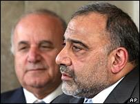 Jordan's Prime Minister Adnan Badran (left) and Iraqi Vice President Adel Abdul Mehdi