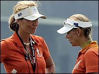 European captain Catrin Nilsmark (left) and Annika Sorenstam