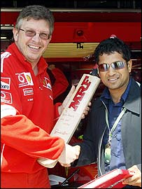 Indian cricket legend Sachin Tendulkar Ferrari Formula One technical director Ross Brawn