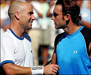 Andre Agassi and Robby Ginepri