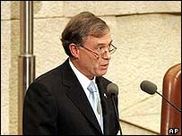 Horst Koehler addresses the Knesset