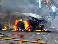 Burning car, Belfast