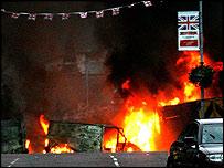 Burning cars, Belfast
