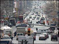Busy street in Manhattan, New York