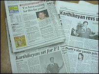 Indian newspapers covering Narain Karthikeyan's prospective drive with Jordan