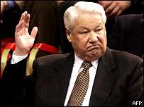 Борис Ельцин во время теннисного матча