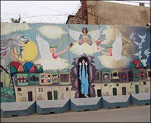 Blast wall art(photo: Roger Hearing/BBC)
