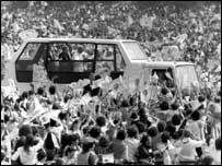 The 'Popemobile' in Glasgow in 1982