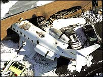 Wreckage in Teterboro, New Jersey, US