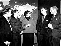 The production team of Tonight meeting in 1957 (l-r) Derek Hart (interviewer), Grace Wyndham Goldie (Asst Head of TV Talks), Cynthia Judah (research), Norman Taylor (technical director) and Geoffrey J