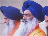 Sikh men at a Gurdwara - or temple - in Hounslow