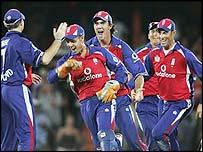 England celebrate the final-ball stumping