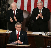 US President George W Bush (foreground), about to start his State of the Union speech
