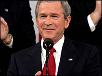 US President George W Bush giving his State of the Union speech