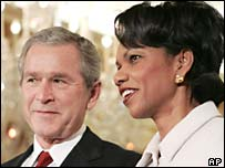 President George W Bush and Condoleezza Rice