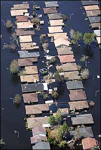 Una fotografía aérea de Nueva Orleans inundada