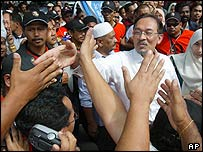 Anwar Ibrahim upon his release from prison
