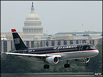 US Airways jet landing at Regan National Airport