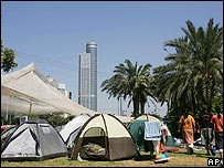 Settlers' tents in Tel Aviv