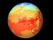 Simulación de los cambios globales de temperatura. Cortesía: climateprediction.net