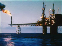 Oil rig at dusk (BBC)