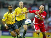 Action from Saturday's match between Middlesbrough and Arsenal