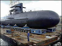 Scorpene type submarine under construction 