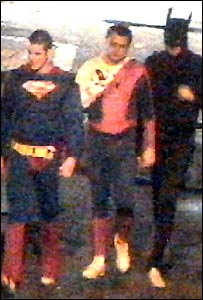 CCTV footage of the suspects dressed as superheroes