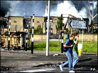 A bank was burned down during rioting in Newtownabbey
