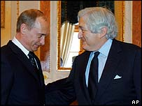 President Vladimir Putin and James Wolfensohn of the World Bank in February 2005