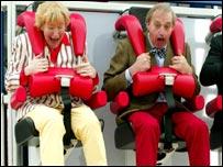 The Hamiltons on a theme park ride