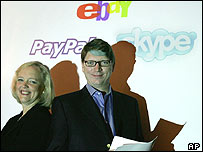 CEO of eBay, Meg Whitman with Niklas Zennstrom, CEO and co-founder of Skype