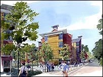 Artist's impression of new buildings at University of Surrey