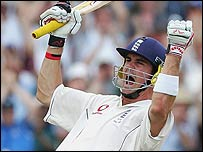Kevin Pietersen celebrates his maiden Test century
