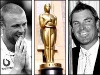 Andrew Flintoff, Shane Warne and Oscar statuette (©A.M.P.A.S.®)