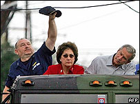 George W Bush tours New Orleans with Louisiana Governor Blanco and Vice Admiral Thad Allen