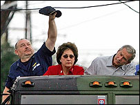 George W Bush tours New Orleans with Lousiana Governor Blanco and Vice Admiral Thad Allen