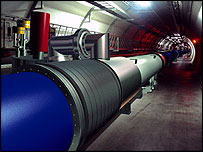 Computer-generated image of the LHC tunnel as it will look on completion    Image: Cern