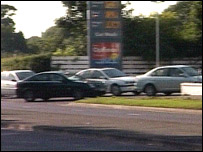 Queue of cars at petrol station