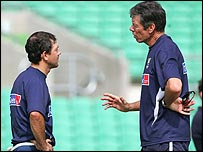 Captain Ricky Ponting (left) and coach John Buchanan (right)