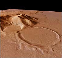 Mars Express picture of hourglass-shaped crater at Promethei Terra, European Space Agency