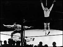 Max Schmeling celebrates his famous win over Joe Louis
