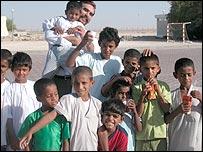 Burney with children