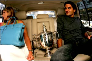Roger Federer with his girlfriend Mirka Vavrinec.