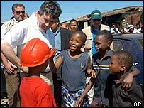 UK Chancellor of the Exchequer Gordon Brown on a visit to Africa in January 2005