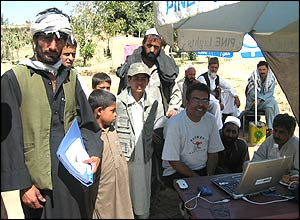 Soutik, seated, with residents of Asad Khyl