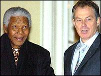 Former SA President Nelson Mandela and British Prime Minister, Tony Blair
