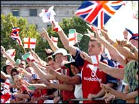 Fans hail the victorious England team